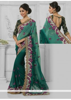 Tiptop Resham Work Green Faux Chiffon Designer Saree