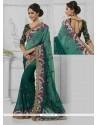 Tiptop Resham Work Green Faux Chiffon Designer Saree