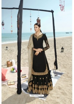 Black Designer Bridal Wear Heavy Net Lehenga Suit