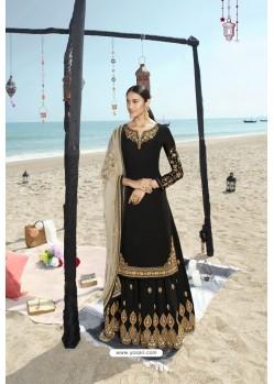 Black Designer Bridal Wear Heavy Net Lehenga Suit