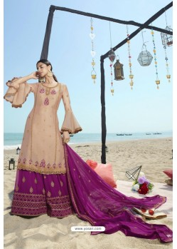 Beige And Purple Designer Bridal Wear Heavy Net Lehenga Suit