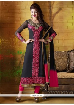 Delightful Black And Pink Georgette Churidar Salwar Kameez