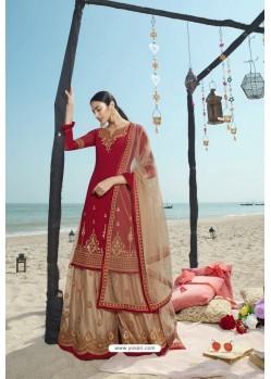 Red And Beige Designer Bridal Wear Heavy Net Lehenga Suit