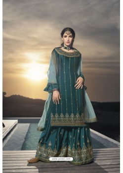 Teal Designer Bridal Wear Heavy Net Lehenga Suit