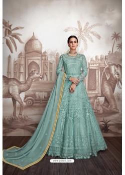 Turquoise Heavy Faux Georgette Stitched Designer Anarkali Suit
