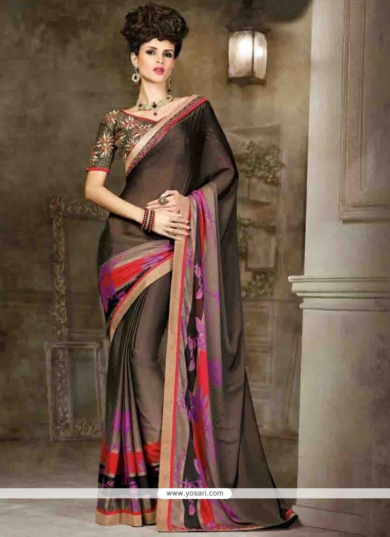 Charming Black Lace Work Contemporary Style Saree