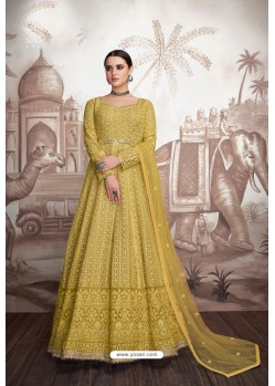 Yellow Heavy Faux Georgette Stitched Designer Anarkali Suit