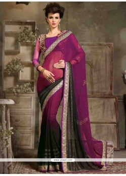 Exuberant Georgette Black And Purple Designer Saree