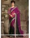 Exuberant Georgette Black And Purple Designer Saree