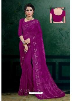 Purple Net Heavy Resham Embroidered Designer Saree