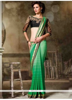 Stylish Green Embroidered Work Georgette Designer Saree
