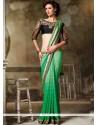 Stylish Green Embroidered Work Georgette Designer Saree