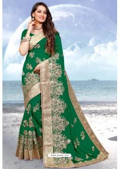 Dark Green Georgette Heavy Embroidered Designer Saree