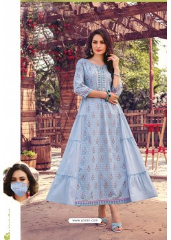 Blue Party Wear Cotton Mal Long Kurti With Mask