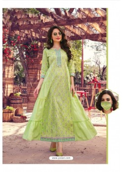 Green Party Wear Cotton Mal Long Kurti With Mask