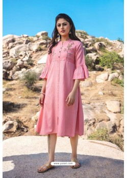 Pink Designer Readymade Rayon Long Kurti