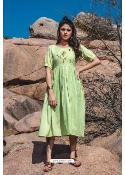 Green Designer Readymade Rayon Long Kurti