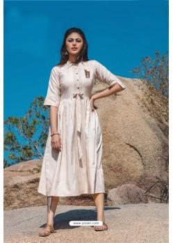 Cream Designer Readymade Rayon Long Kurti