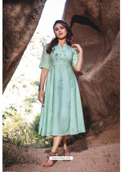 Sea Green Designer Readymade Rayon Long Kurti