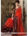 Glorious Red Lace Work Contemporary Style Saree