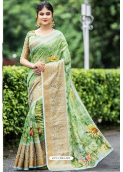 Green Latest Cotton Printed Saree