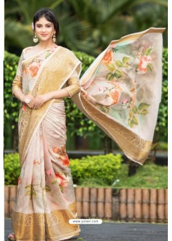 Cream Latest Cotton Printed Saree