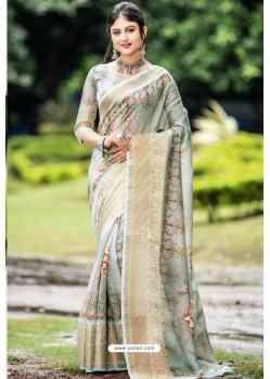 Light Grey Latest Cotton Printed Saree