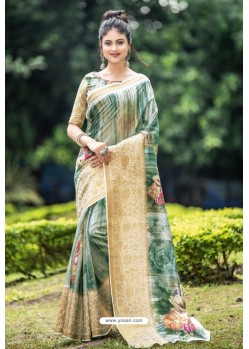 Mehendi Green Latest Cotton Printed Saree