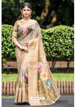 Beige Latest Cotton Printed Saree