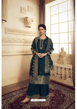 Peacock Blue Satin Silk Designer Party Wear Palazzo Suit