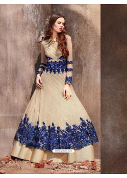 Cream Net Embroidered Designer Floor Length Suit