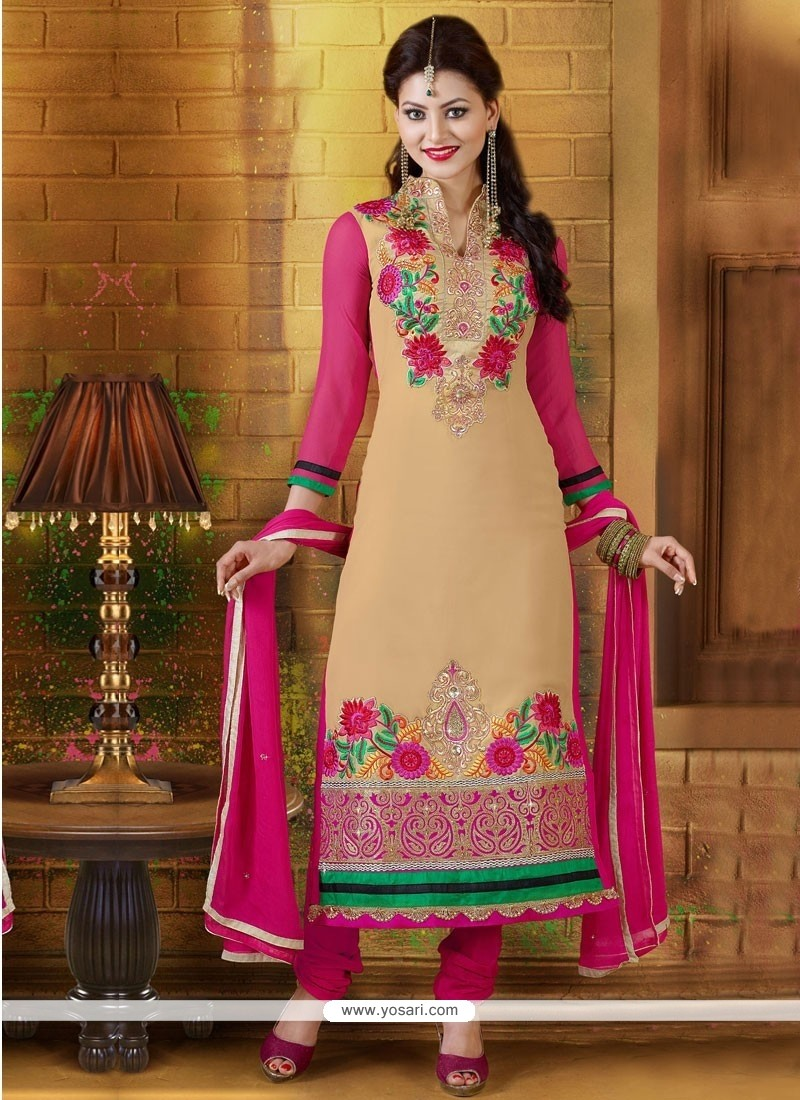 Cream And Pink Georgette Resham Churidar Suit