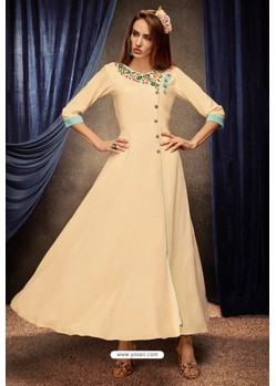 Cream Party Wear Heavy Rayon Kurti