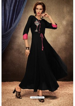 Black Heavy Rayon Party Wear Kurti