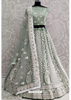 Green Net Thread Worked Designer Lehenga Choli
