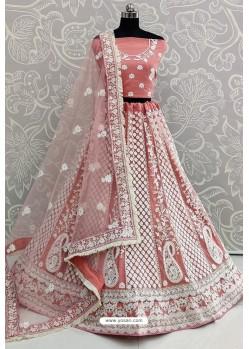 Light Pink Net Thread Worked Designer Lehenga Choli