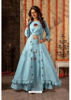 Sky Blue Designer Navaratri Special Lehenga Suit