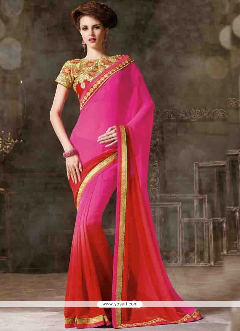 Magnificent Lace Work Hot Pink And Red Designer Saree