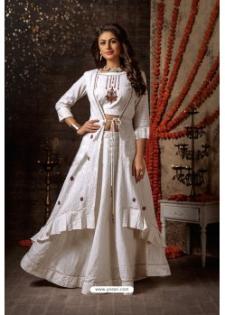 White Designer Navaratri Special Lehenga Suit