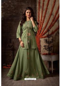 Mehendi Green Designer Navaratri Special Lehenga Suit