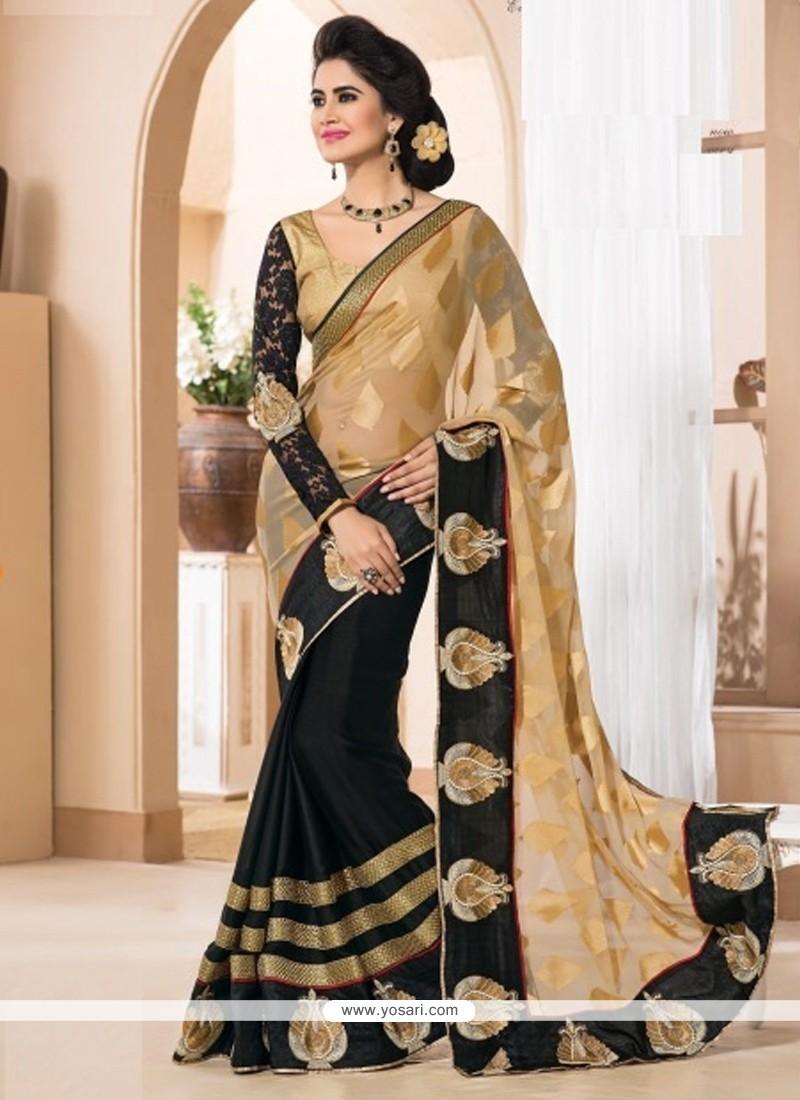 Lavish Black Zari Work Designer Saree