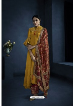 Mustard Designer Silky Satin Georgette Party Wear Suit