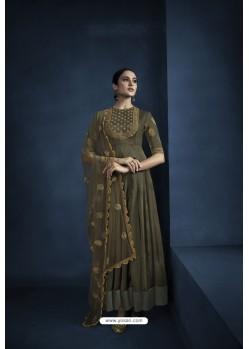 Mehendi Green Designer Silky Satin Georgette Party Wear Suit