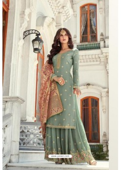 Olive Green Georgette Heavy Worked Designer Sharara Suit
