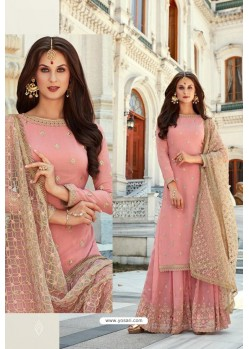 Pink Georgette Heavy Worked Designer Sharara Suit