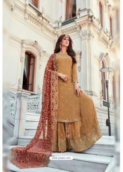 Beige Georgette Heavy Worked Designer Sharara Suit