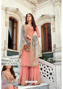 Peach Georgette Heavy Worked Designer Sharara Suit