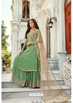 Green Georgette Heavy Worked Designer Sharara Suit