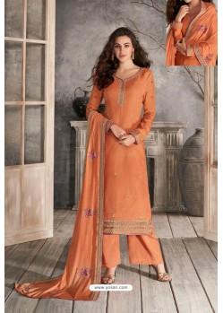 Orange Premium Tussar Silk Designer Suit