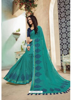 Teal Chanderi Silk Party Wear Saree